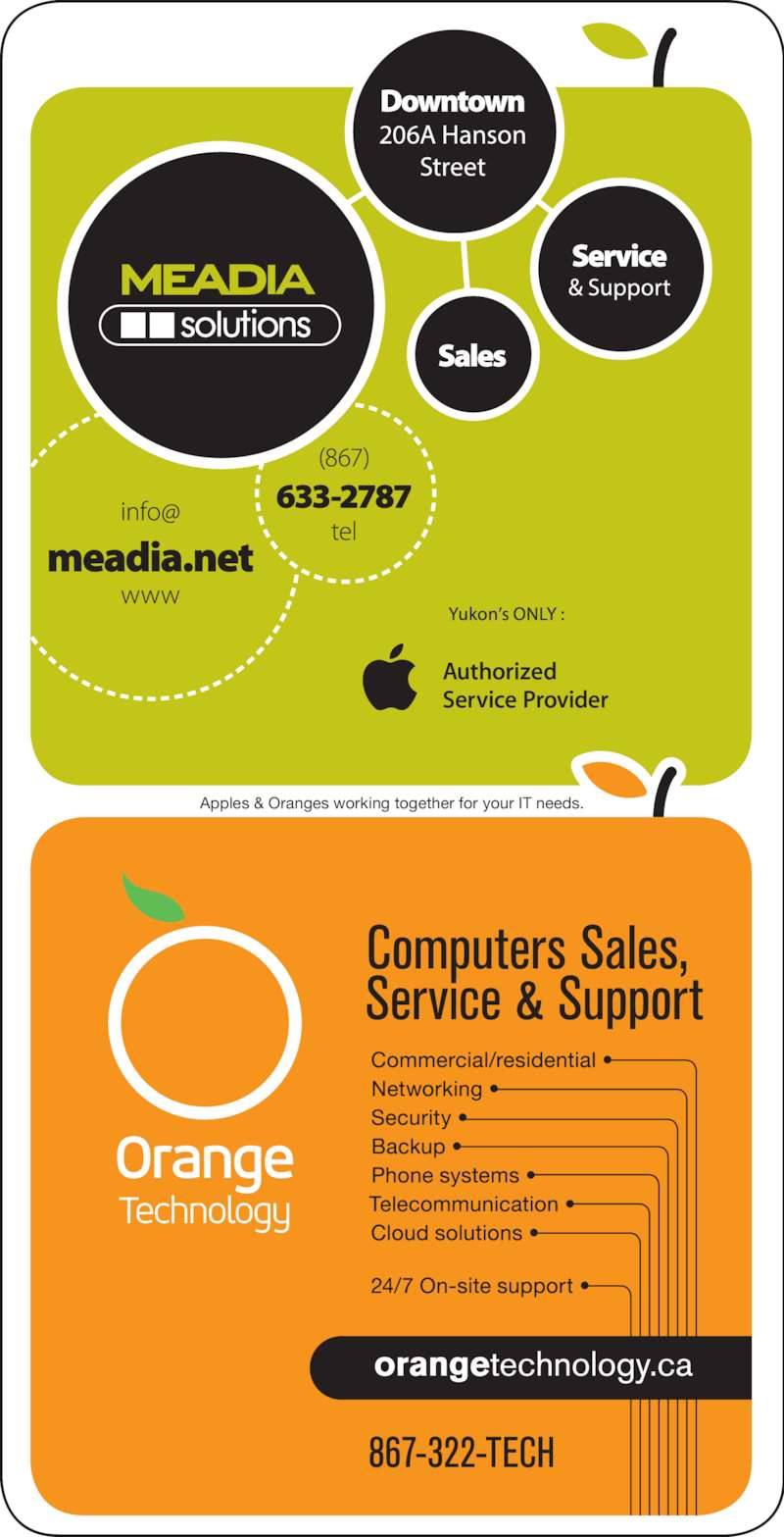 MEADIAsolutions (867-633-2787) - Display Ad - Apples & Oranges working together for your IT needs.