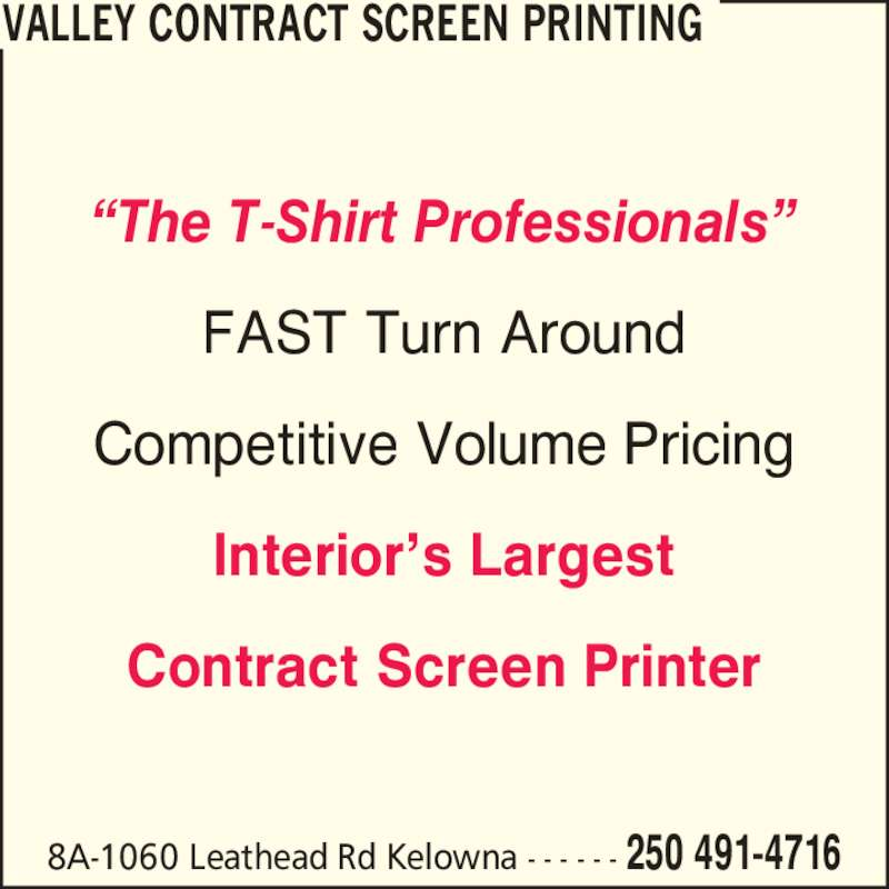 ad Valley Contract Screen Printing