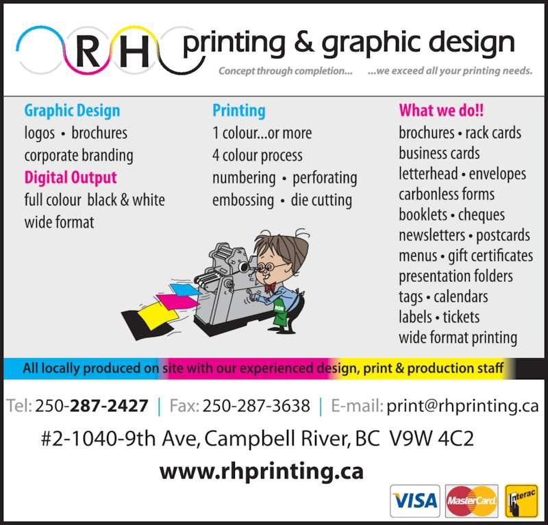 R H Printing Ltd (250-287-2427) - Display Ad -