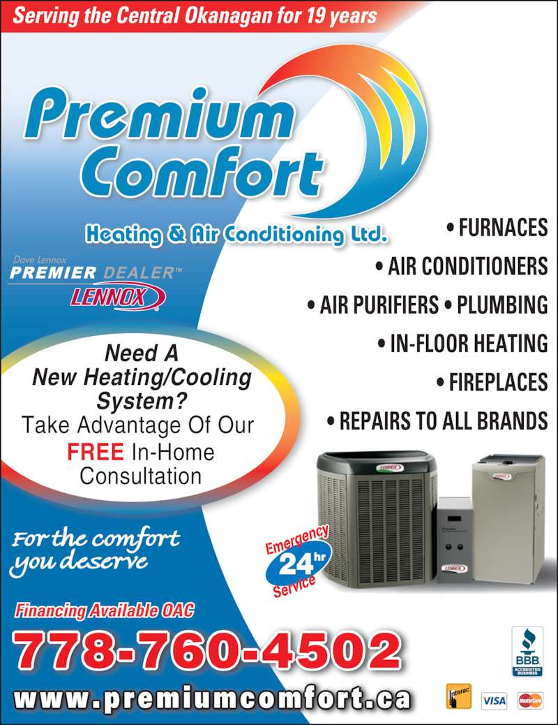 Premium comfort heating air conditioning kelowna bc for New and innovative heating and cooling system design