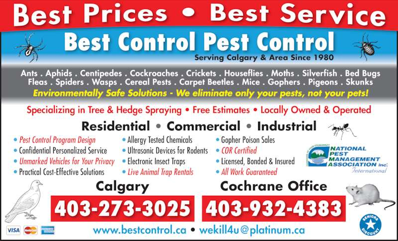 Best Control Pest Control Ltd (403-273-3025) - Display Ad - Specializing in Tree & Hedge Spraying ? Free Estimates ? Locally Owned & Operated Best Control Pest Control Serving Calgary & Area Since 1980 ? Pest Control Program Design ? Confidential Personalized Service ? Unmarked Vehicles for Your Privacy ? Practical Cost-Effective Solutions ? Allergy Tested Chemicals ? Ultrasonic Devices for Rodents ? Electronic Insect Traps ? Live Animal Trap Rentals ? Gopher Poison Sales ? COR Certified ? Licensed, Bonded & Insured ? All Work Guaranteed Residential ? Commercial ? Industrial Calgary 403-273-3025 Cochrane Office 403-932-4383 Fleas . Spiders . Wasps . Cereal Pests . Carpet Beetles . Mice . Gophers . Pigeons . Skunks Environmentally Safe Solutions - We eliminate only your pests, not your pets! Ants . Aphids . Centipedes . Cockroaches . Crickets . Houseflies . Moths . Silverfish . Bed Bugs Specializing in Tree & Hedge Spraying ? Free Estimates ? Locally Owned & Operated Best Control Pest Control Serving Calgary & Area Since 1980 ? Pest Control Program Design ? Confidential Personalized Service ? Unmarked Vehicles for Your Privacy ? Practical Cost-Effective Solutions ? Allergy Tested Chemicals ? Ultrasonic Devices for Rodents ? Electronic Insect Traps ? Live Animal Trap Rentals ? Gopher Poison Sales ? COR Certified ? Licensed, Bonded & Insured ? All Work Guaranteed Residential ? Commercial ? Industrial Calgary 403-273-3025 Cochrane Office 403-932-4383 Fleas . Spiders . Wasps . Cereal Pests . Carpet Beetles . Mice . Gophers . Pigeons . Skunks Environmentally Safe Solutions - We eliminate only your pests, not your pets! Ants . Aphids . Centipedes . Cockroaches . Crickets . Houseflies . Moths . Silverfish . Bed Bugs