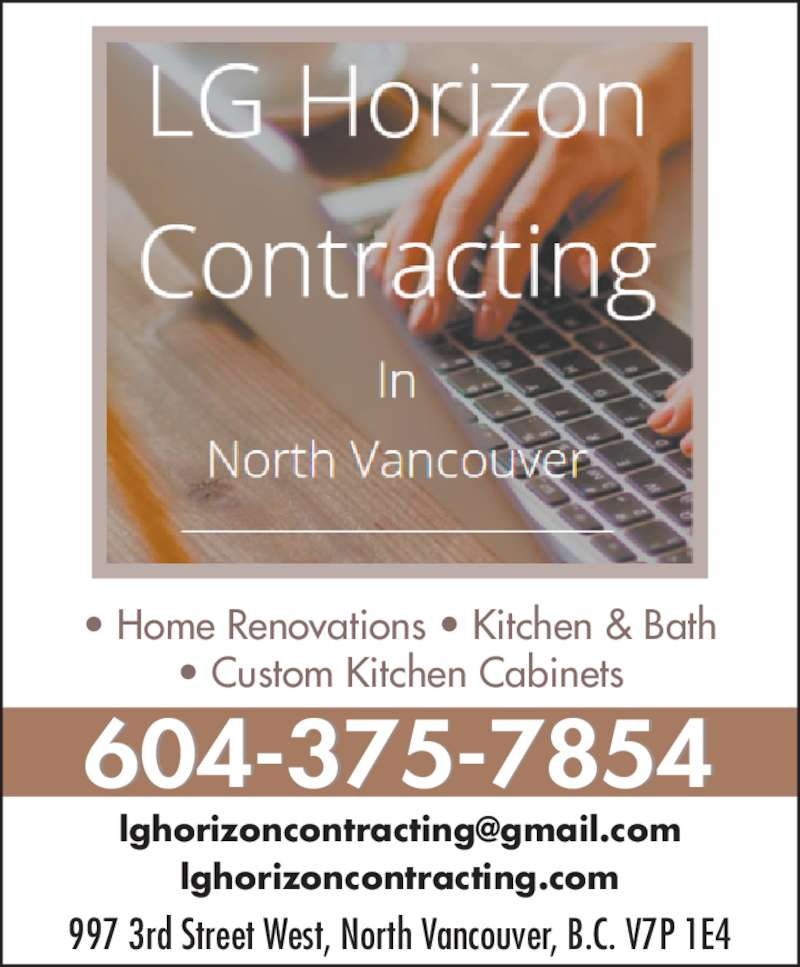 lg horizon contracting custom cabinets 604 375 7854 display ad - Custom Kitchen Cabinets Vancouver