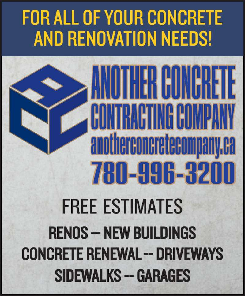 Another Concrete and Contracting Company (780-996-3200) - Display Ad -