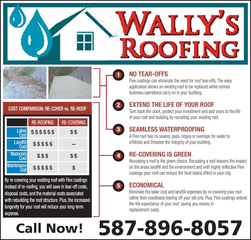 Wally's Roofing (587-896-8057) - Display Ad - $ $ $ $ $ $ $ $ $ $ $ $ $ $ $ $ $ $ $ $ $ $ $ infiltrate and threaten the integrity of your building. on the areas landfill and the environment and with highly reflective Flex coatings your roof can reduce the heat island effect in your city. SEAMLESS WATERPROOFING Turn back the clock, protect your investment and add years to the life of your roof and building by recoating your existing roof. EXTEND THE LIFE OF YOUR ROOF Eliminate the labor cost and landfill expenses by re-covering your roof rather then needlessly tearing off your old one. Plus, Flex coatings extend the life expectancy of your roof, saving you money in replacement costs. ECONOMICAL RE-COVERING IS GREEN Recoating a roof is the green choice. Recoating a roof lessens the impact A Flex roof has no seams, gaps, ridges or overlaps for water to Cost Materials Cost Maintenance Cost RE-ROOFING RE-COVERING COST COMPARISON: RE-COVER vs. RE-ROOF Labor Cost Landfill By re-covering your existing roof with Flex coatings instead of re-roofing, you will save in tear-off costs, disposal costs, and the material costs associated with rebuilding the roof structure. Plus, the increased longevity for your roof will reduce your long-term expense. Call Now! 587-896-8057 NO TEAR-OFFS Flex coatings can eliminate the need for roof tear-offs. The easy application allows an existing roof to be replaced while normal business operations carry on in your building.