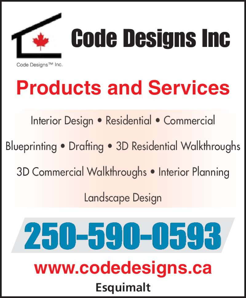 Code designs inc opening hours po box 36024 rpo for Residential design services