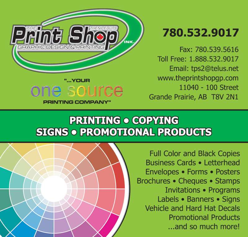 The Print Shop Grande Prairie AB 11040 100 St Canpages