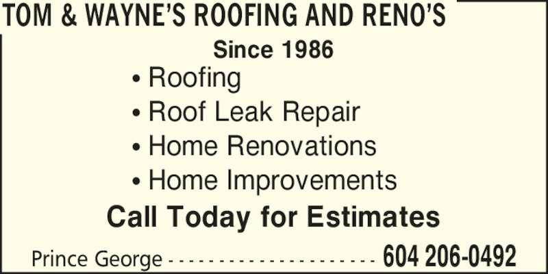 Ads Tom U0026 Wayneu0027s Roofing And Renou0027s