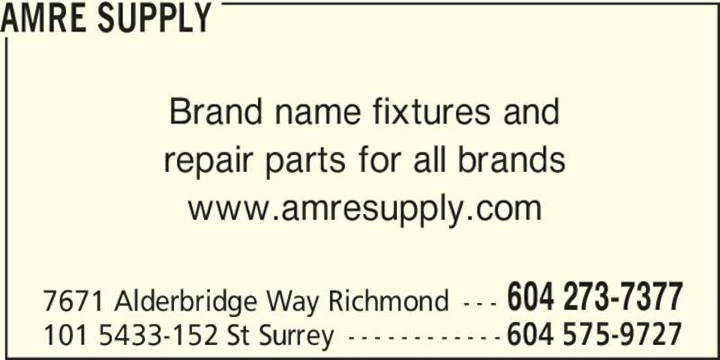 Amre Supply Richmond Bc 100 7671 Alderbridge Way