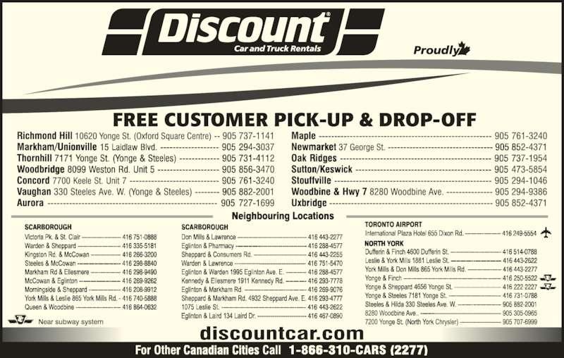 Discount Car Rental Etobicoke Ontario