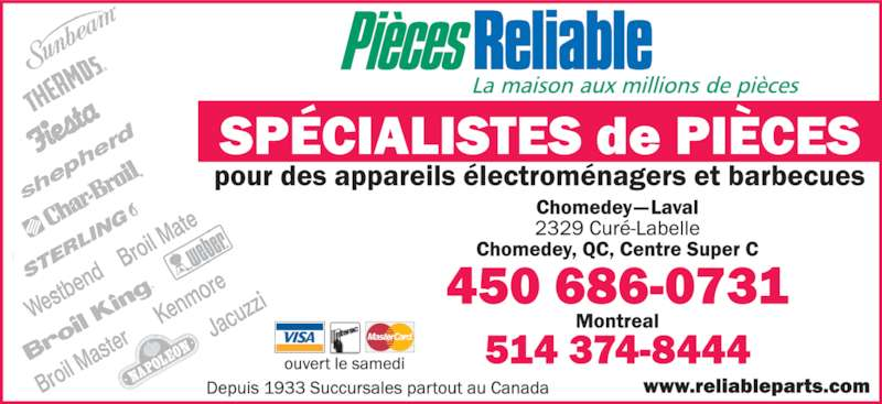 Reliable Parts (450-686-0731) - Annonce illustrée======= -