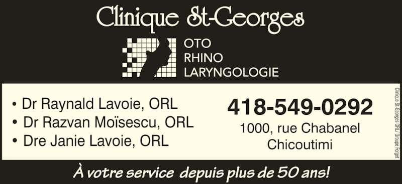 Clinique St-Georges (418-549-0292) - Annonce illustrée======= -