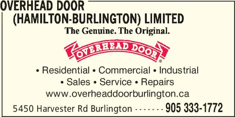 Overhead Door Hamilton Burlington Ltd Burlington On