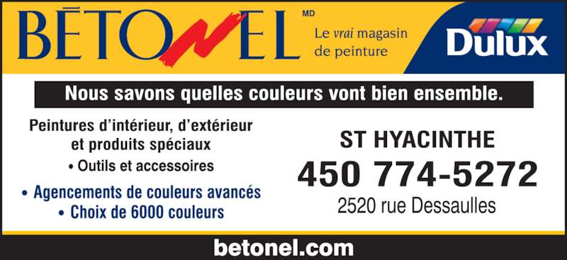 betonel dulux saint hyacinthe qc 2520 rue dessaulles canpages fr. Black Bedroom Furniture Sets. Home Design Ideas