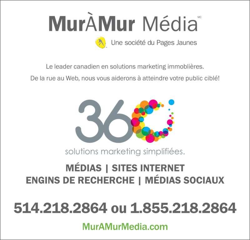 MurAMur Media (514-218-2864) - Annonce illustrée======= -