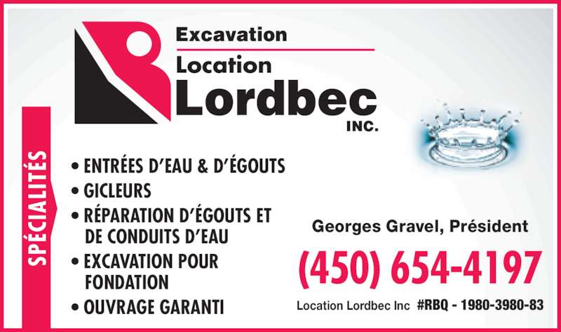 Excavation Lordbec Inc (450-654-4197) - Annonce illustrée======= -