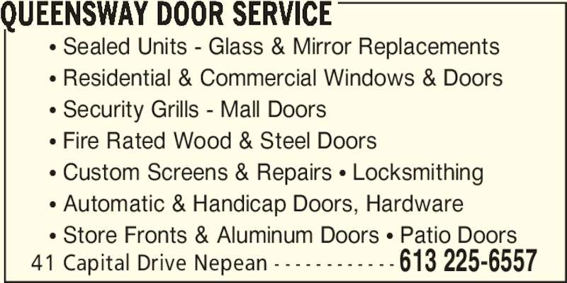 A Queensway Door Nepean On 41 Capital Dr Canpages