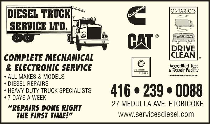 Diesel Truck Service Ltd Etobicoke On 27 Medulla Ave