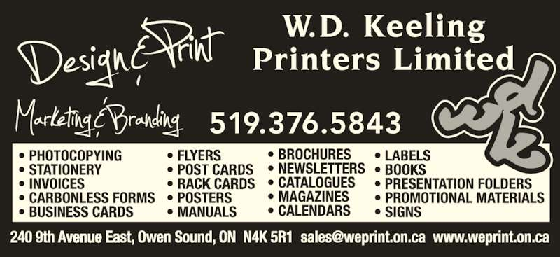 Keeling¿s Design and Print (519-376-5843) - Display Ad -