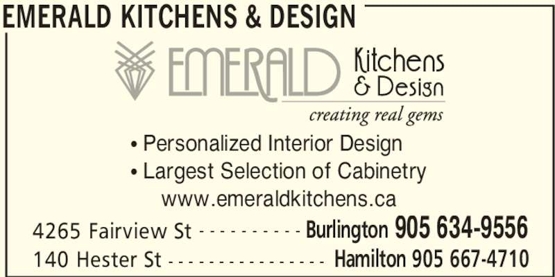 Emerald Kitchens Design Opening Hours 4265 Fairview St Burlington On