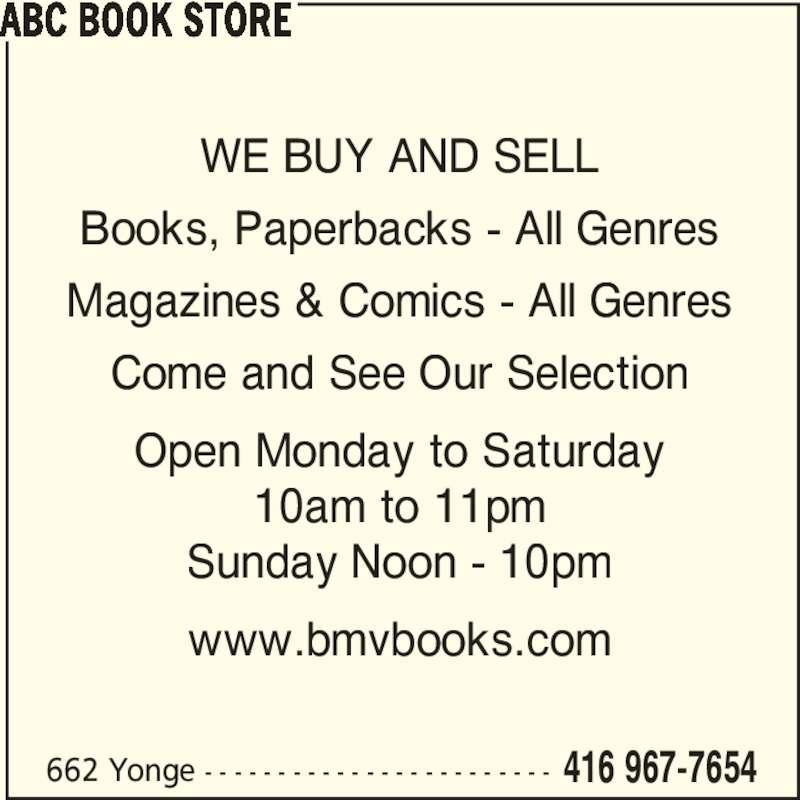 ABC Book Store (416-967-7654) - Annonce illustrée======= -