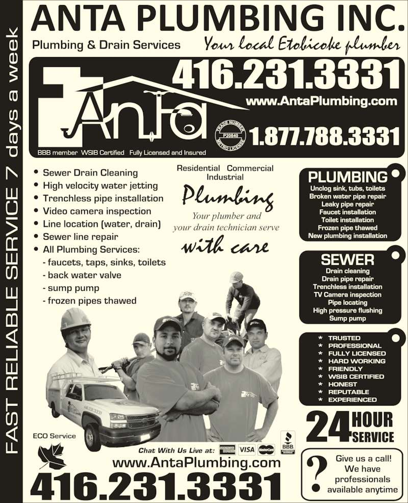 Anta Plumbing and Drain (416-231-3331) - Display Ad - Your local Etobicoke plumber Chat With Us Live at: