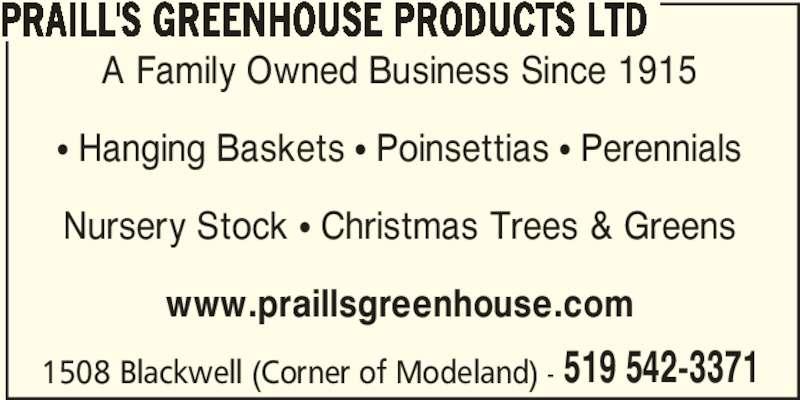 ad Praill's Greenhouse Products Ltd