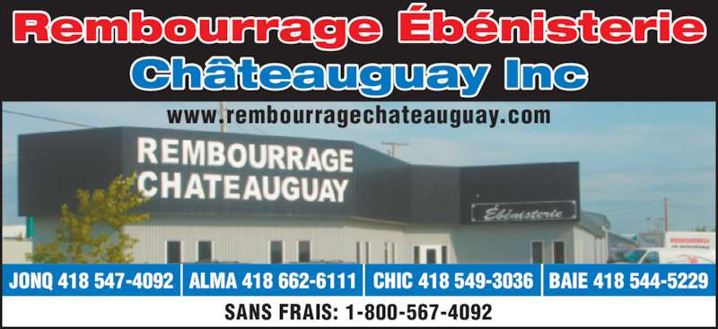 Rembourrage et eb nisterie ch teauguay inc canpages fr for Meuble chateauguay