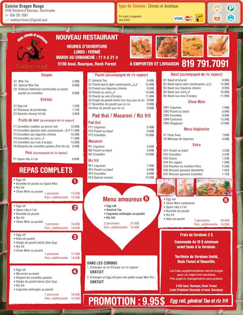 Cuisine Rouge Avec Bar : Cuisine Dragon Rouge  Sherbrooke, QC  5156 boul Bourque  Canpages