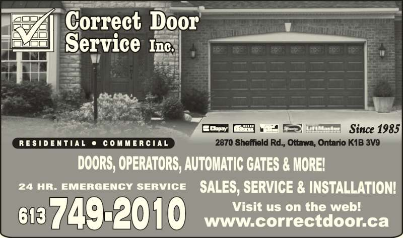 Correct Door Service Inc (613-749-2010) - Display Ad -