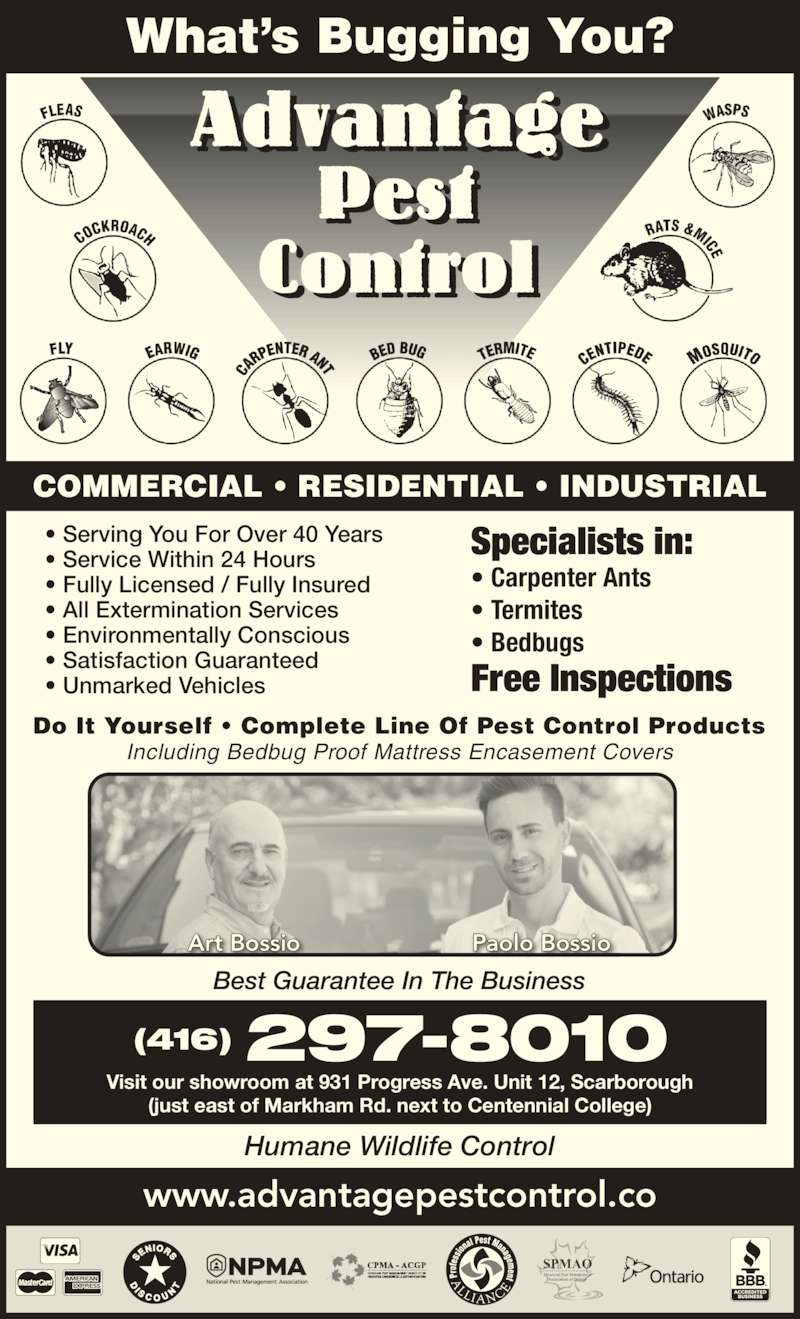 Advantage Pest Control Inc (416-297-8010) - Display Ad - www.advantagepestcontrol.co Humane Wildlife Control • Serving You For Over 40 Years • Service Within 24 Hours • Fully Licensed / Fully Insured • Environmentally Conscious • Satisfaction Guaranteed • Unmarked Vehicles • All Extermination Services Best Guarantee In The Business What's Bugging You? COMMERCIAL • RESIDENTIAL • INDUSTRIAL Do It Yourself • Complete Line Of Pest Control Products Including Bedbug Proof Mattress Encasement Covers Art Bossio Paolo Bossio (416) 297-8010 Specialists in: • Carpenter Ants • Termites • Bedbugs Free Inspections Visit our showroom at 931 Progress Ave. Unit 12, Scarborough (just east of Markham Rd. next to Centennial College)