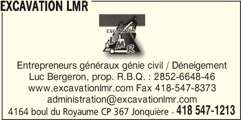 Excavation LMR (418-547-1213) - Annonce illustrée======= -