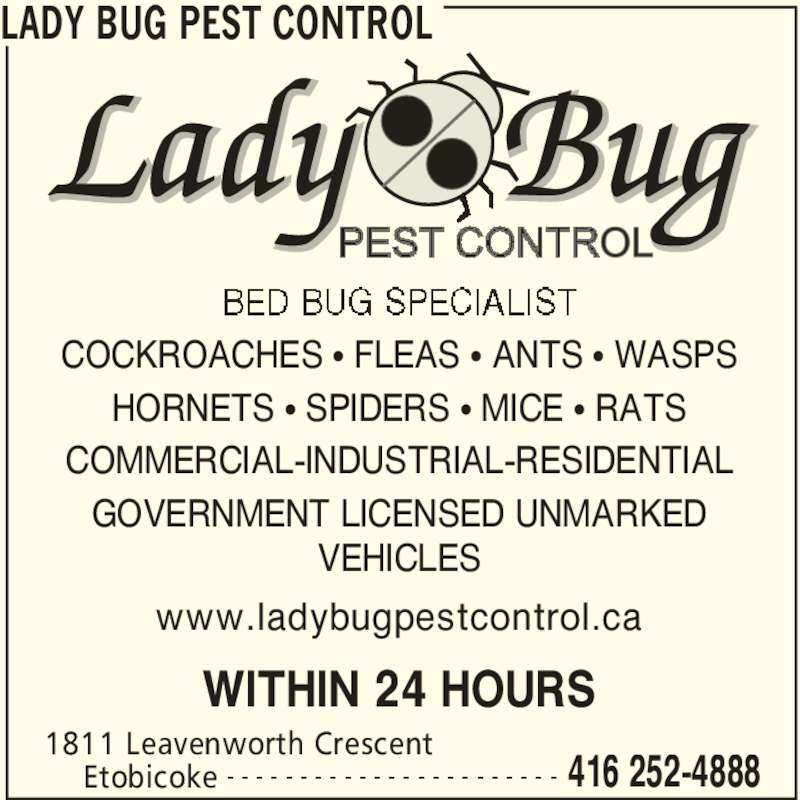 Lady bug pest control etobicoke on 18 leavenworth for 24 hour tanning salon near me