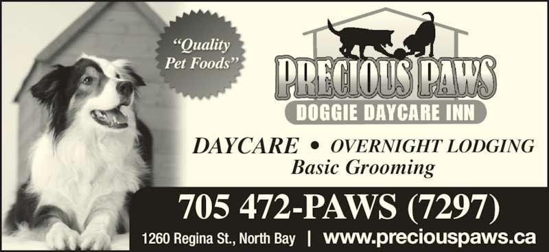 "Precious Paws Doggie Daycare Inn (705-472-7297) - Display Ad - www.preciouspaws.ca 705 472-PAWS (7297) Basic Grooming OVERNIGHT LODGINGDAYCARE  •  1260 Regina St., North Bay ""Quality Pet Foods"""
