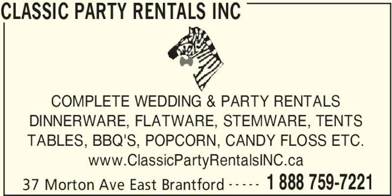 Classic Party Rentals Inc Brantford On 37 Morton Ave