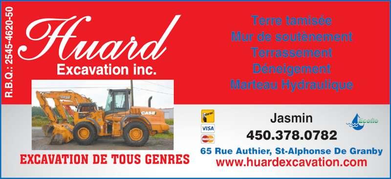 Huard Excavation (450-378-0782) - Annonce illustrée======= -