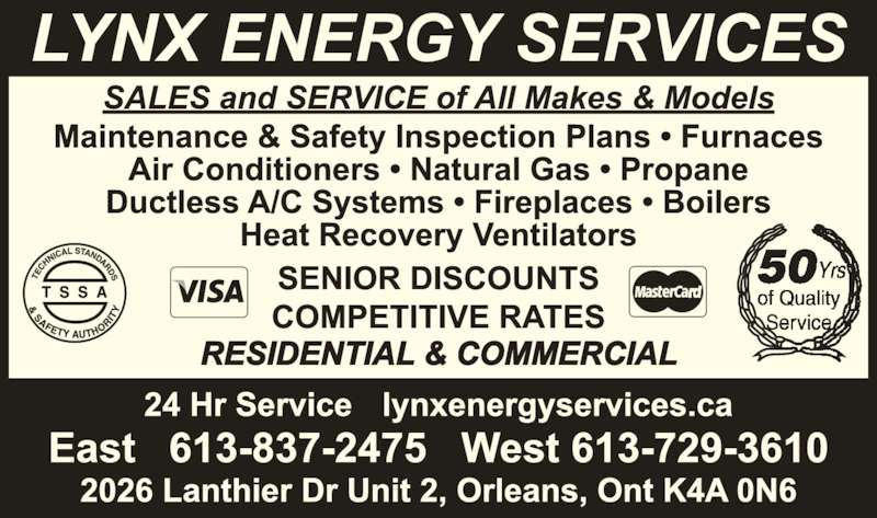 Lynx Energy Services (613-837-2475) - Display Ad -
