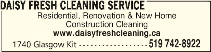 Daisy Fresh Cleaning Service - Opening Hours - 1740 ...