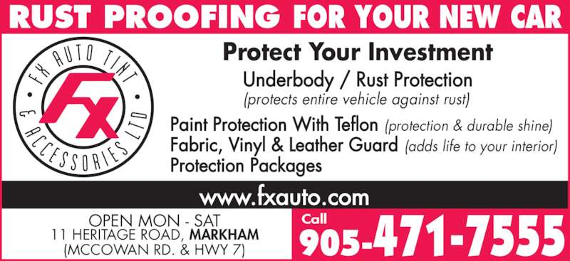 FX Auto Tint & Accessories Ltd (905-471-7555) - Annonce illustrée======= -