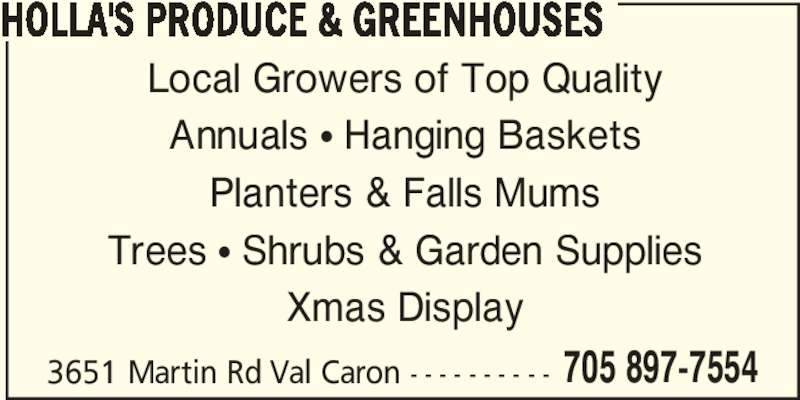 ad Holla's Produce & Greenhouses