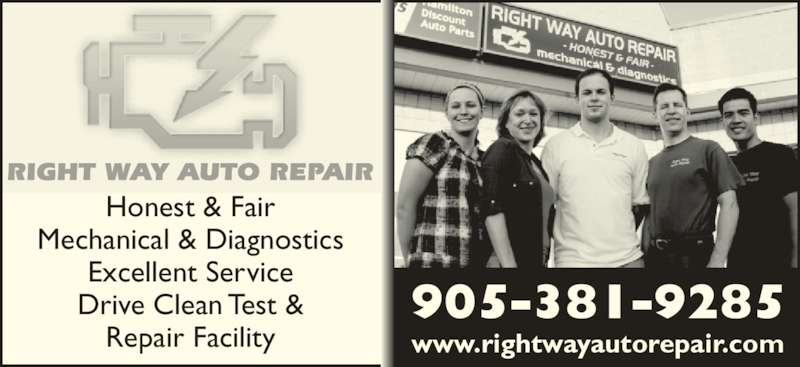 Right Way Auto Repair (905-381-9285) - Display Ad - Honest & Fair Mechanical & Diagnostics Excellent Service Drive Clean Test & Repair Facility www.rightwayautorepair.com 905-381-9285