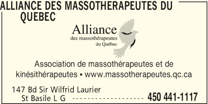 Alliance des Massothérapeutes du Québec (450-441-1117) - Annonce illustrée======= - ALLIANCE DES MASSOTHERAPEUTES DU  QUEBEC  147 Bd Sir Wilfrid Laurier 450 441-1117St Basile L G - - - - - - - - - - - - - - - - - - - Association de massothérapeutes et de kinésithérapeutes π www.massotherapeutes.qc.ca