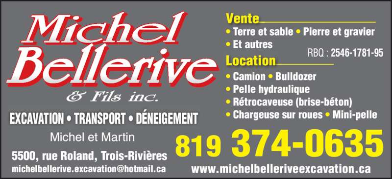 Bellerive Michel & Fils Excavations Inc (819-374-0635) - Annonce illustrée======= -