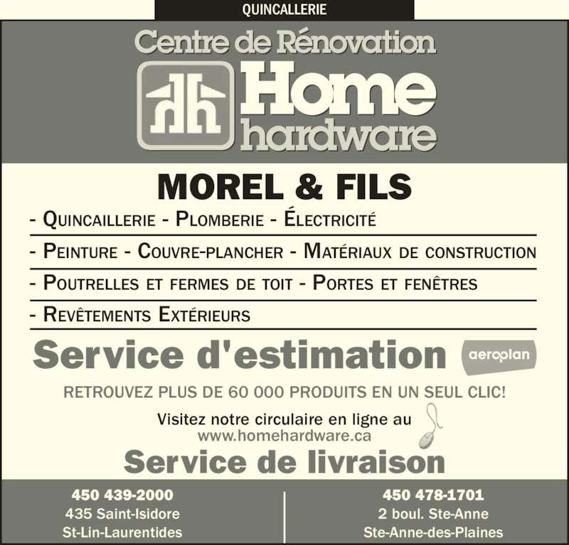 Morel et fils home hardware horaire d 39 ouverture 435 for Home hardware porte et fenetre valleyfield