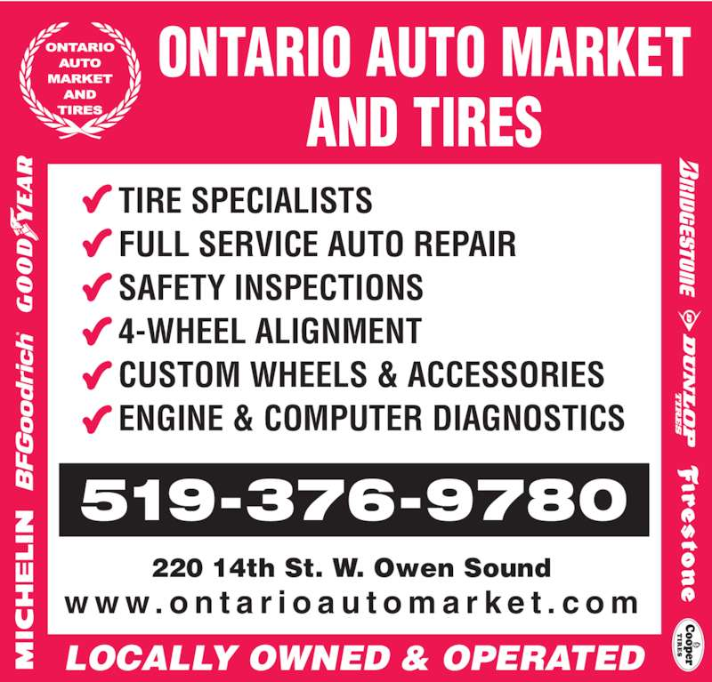 Ontario Auto Market And Tires - Owen Sound, ON - 220 14th St W | Canpages