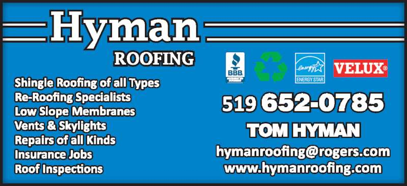Hyman Roofing (519-652-0785) - Display Ad -