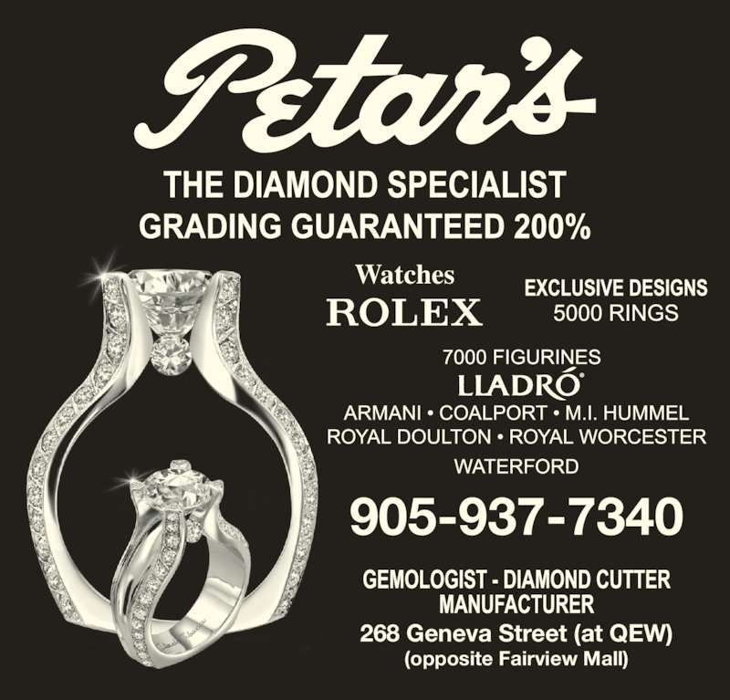 Petar's Jewellery Ltd (905-937-7340) - Display Ad - 268 Geneva Street (at QEW) (opposite Fairview Mall) 905-937-7340 Watches