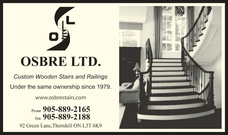 Osbre Ltd (905-889-2165) - Display Ad - www.osbrestairs.com