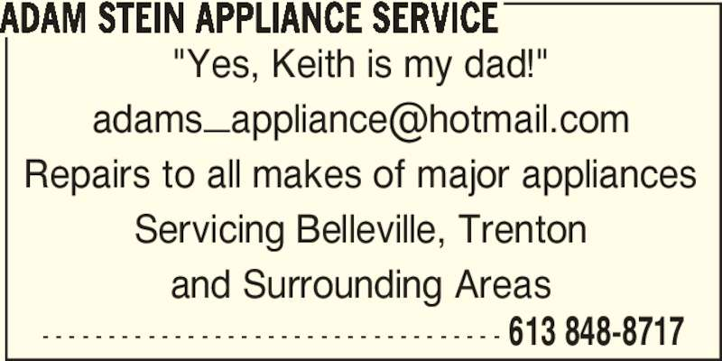 Adam Stein Appliance Service Opening Hours Belleville On