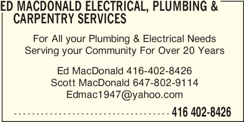 Ed MacDonald Electrical Plumbing & Carpentry Services - ON