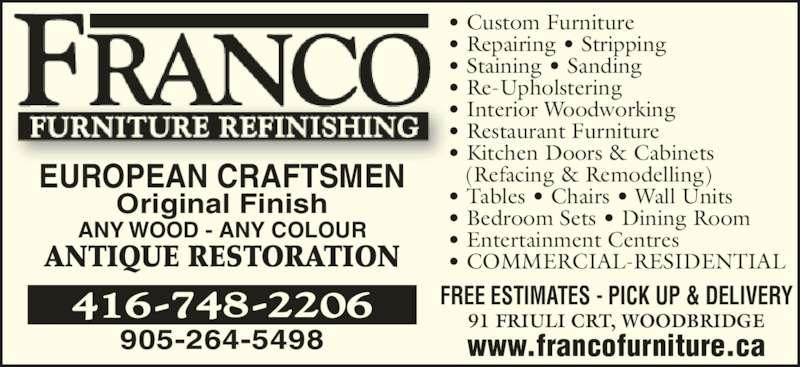 Ads Franco Furniture Refinishing